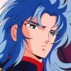 Cheveux bleus, yeux bleus/vert